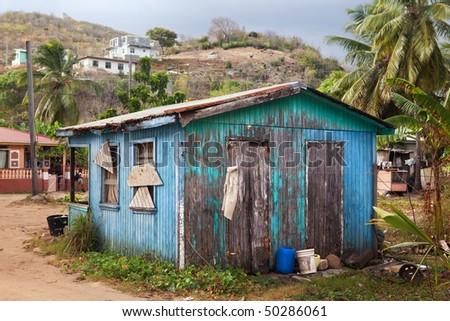 Wooden house in Antigua - stock photo