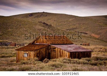Wooden house in Bodie Historic State Park - stock photo