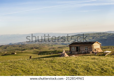 Wooden house in the grassland - stock photo