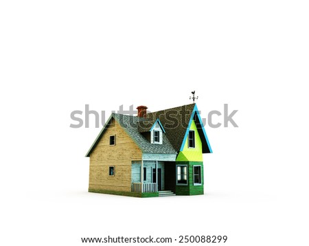 wooden house isolated on white background - stock photo