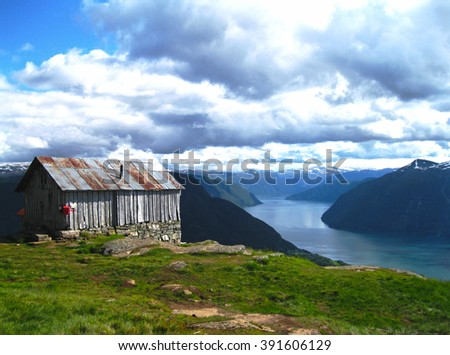 Wooden house on the background of beautiful Sognefjord, Norway. Scandinavia	 - stock photo