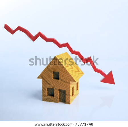 Wooden house symbol with a graph - stock photo