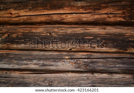 Wooden house wall. Wall made of logs. Wooden wall from logs. Wood texture. Wooden background. Dark old wooden wall.