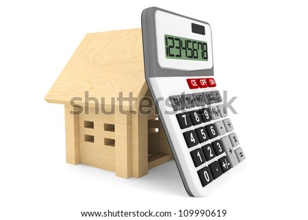 Wooden House with Calculator on a white background - stock photo