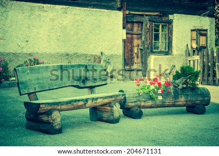 wooden houses in Fiesch - Switzerland - stock photo