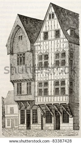 Wooden houses in Reims, France, old illustration. By unidentified author, published on Magasin Pittoresque, Paris, 1840 - stock photo
