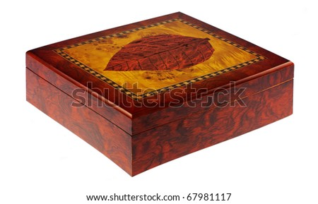 Wooden humidor for cigars isolated on white background. Intentional shallow depth of field. Studio work. - stock photo