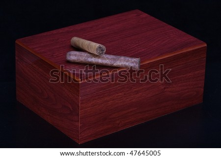 Wooden Humidor with Cuban Cigars - stock photo