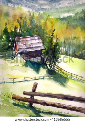 Wooden hut in mountains.Picture created with watercolors. - stock photo