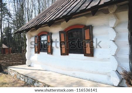 wooden hut (Traditional ukrainian rural house) - stock photo