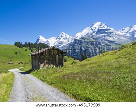 Wooden hut with Swiss Alps range on the background, Switzerland