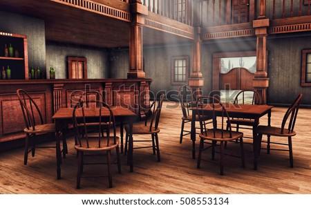 Wooden Interior Wild West Saloon 3d Stock Illustration
