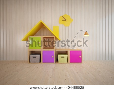Wooden interior of children room with colored furniture - 3d illustration