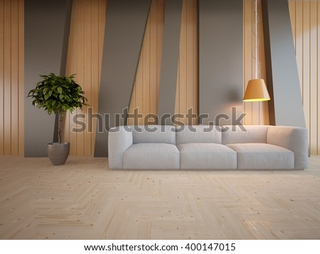 Wooden interior of living room with colored furniture and orange lamp - 3d illustration - stock photo