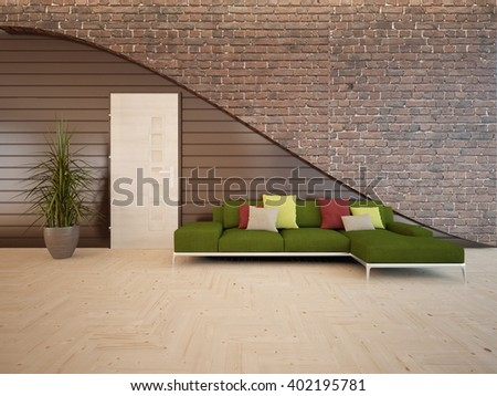 Wooden interior of living room with green furniture - 3d illustration - stock photo
