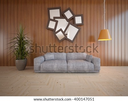 Wooden interior of living room with grey sofa - 3d illustration - stock photo