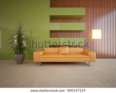 Wooden interior of living room with orange sofa - 3d illustration - stock photo