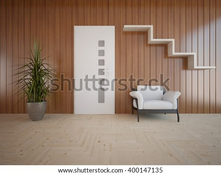 Wooden interior of living room with white armchair and flower - 3d illustration - stock photo