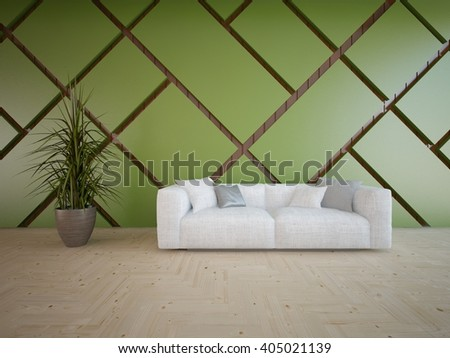 Wooden interior of living room with white furniture - 3d illustration