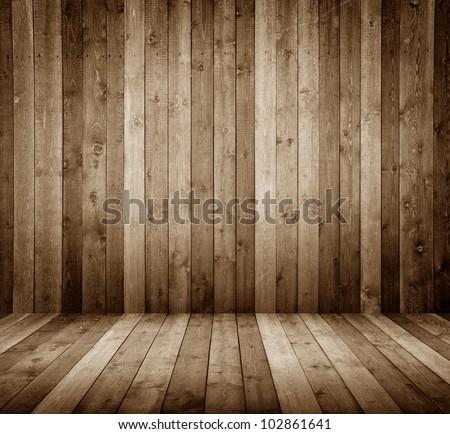 wooden interior room - stock photo