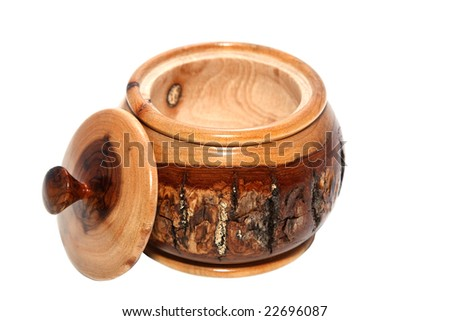 Wooden jar isolated on white background