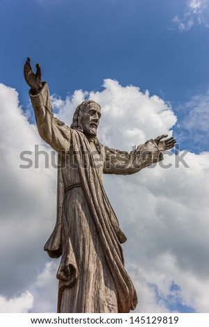 Wooden Jesus statue at the hill of crosses near Siauliai, Lithuania