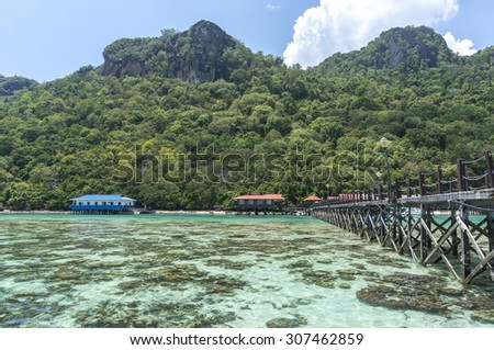 Wooden jetty and corals at a Boghey Dulang island, Sabah, Malaysia - stock photo