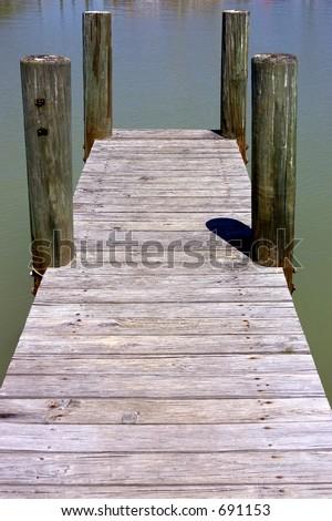 Wooden jetty, flamingo visitors center, Everglades National Park, Florida, USA - stock photo