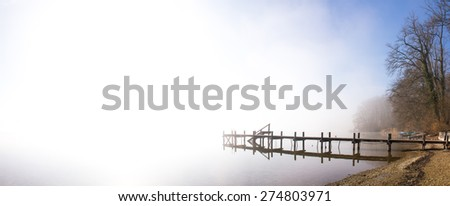 wooden jetty on lake simssee, panorama format - stock photo