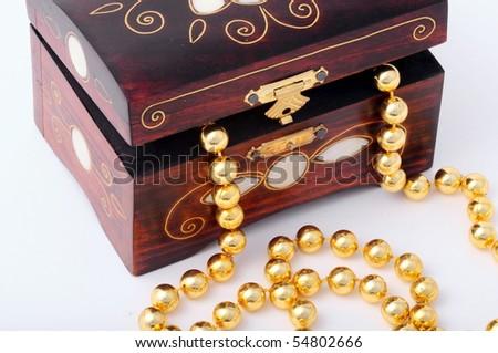 wooden jewel box - stock photo