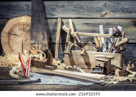 Wooden joinery box with tools - stock photo