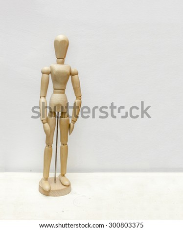 Wooden jointed doll - stock photo