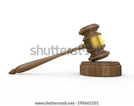 Wooden judge gavel and soundboard on white background 3D