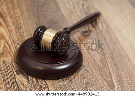 Wooden Judge Gavel And Soundboard On Wooden Background - stock photo