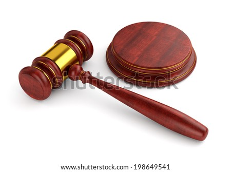 Wooden judge gavel with stand isolated on white background. Law and auction business concept. - stock photo