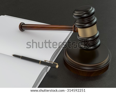 Wooden judges gavel and open book on black leather desk. High resolution - stock photo