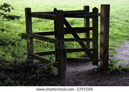 Wooden kissing gate - stock photo
