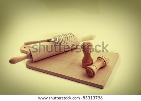 Wooden kitchen accessories - stock photo