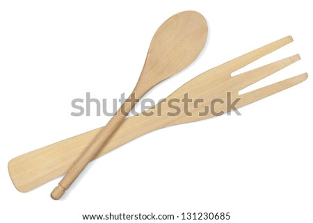 wooden kitchen utensil, spoon and fork