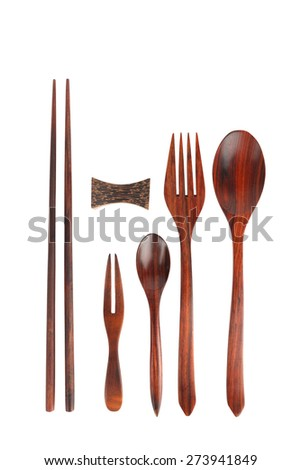 Wooden kitchen utensils. Isolated on a white background  - stock photo