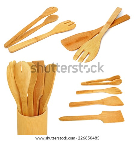 Wooden kitchen utensils on a white background. Collage - stock photo