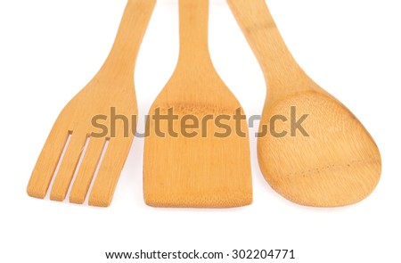 Wooden kitchenware isolated on white background