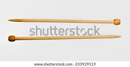 Wooden knitting needles - stock photo