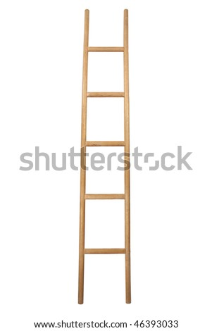wooden ladder isolated on white - stock photo