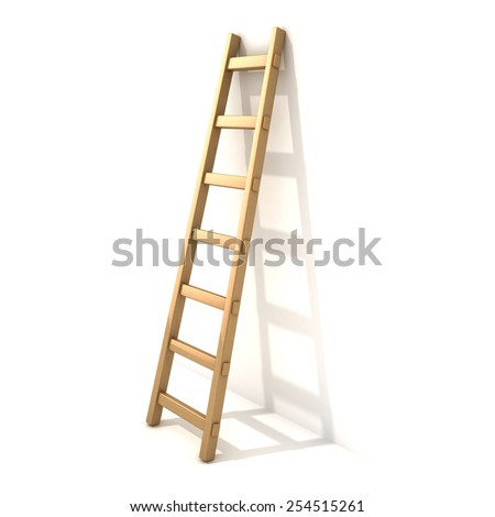 Wooden ladder, near white wall. 3D render illustration isolated on white background. - stock photo