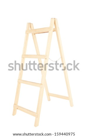 wooden ladder on a white background - stock photo