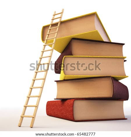 Wooden ladder standing near books pile. isolated on white including clipping path. - stock photo