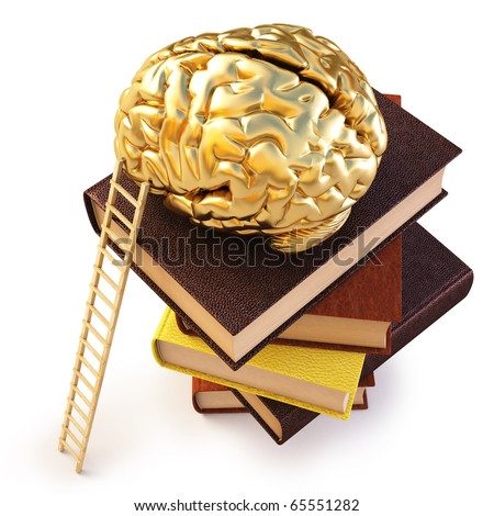 Wooden ladder standing near books pile. on top of the book is a gold brain.  isolated on white including clipping path. - stock photo