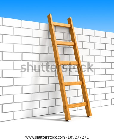 Wooden ladder to blue sky leans on white brick wall. Happiness, freedom, leadership, success, goals achievement and overcoming obstacles concept. - stock photo