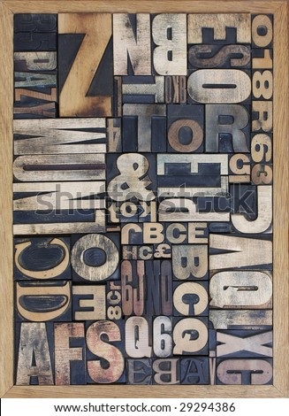 wooden letterpress blocks - stock photo